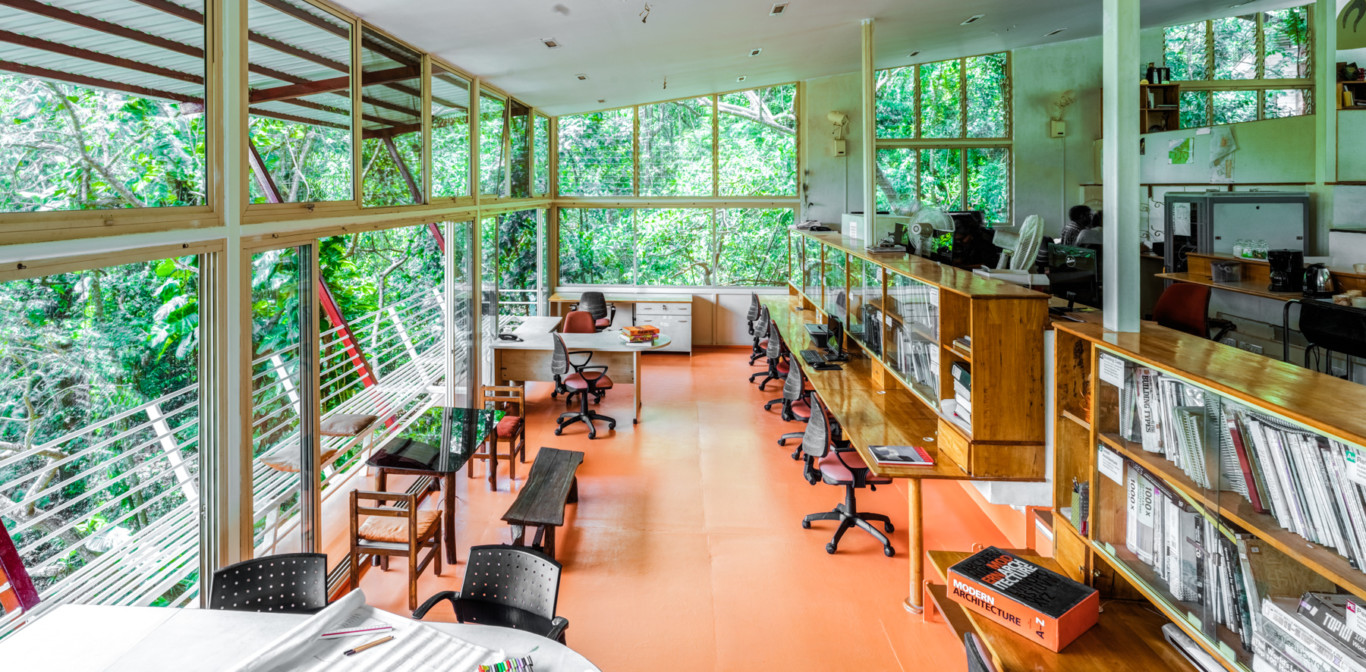 architecture simple office room modern row of simple steel structures framed by dense green valley this is the first glimpse architect dean dcruzs office in porvorim goa architect workspace goa paradise